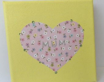 Mum Heart Canvas for Mothers Day Gift