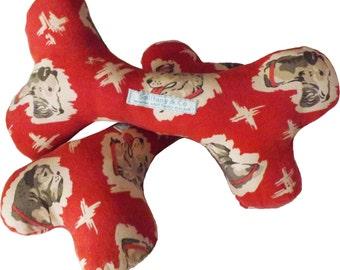 Retro Fabric Dog Bone Toy with Squeakers