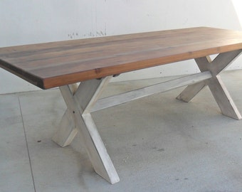 Dining Table, 8 Ft Table, Trestle Table, Reclaimed Wood, Rustic, Vintage, Industrial