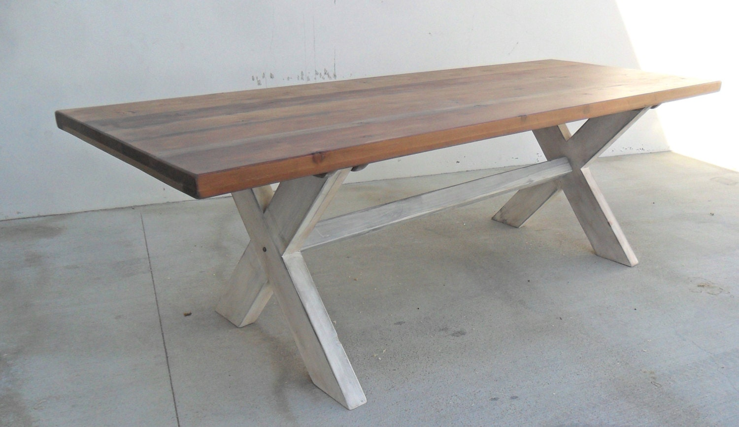 Dining table 8 ft table trestle table reclaimed wood Trestle dining table