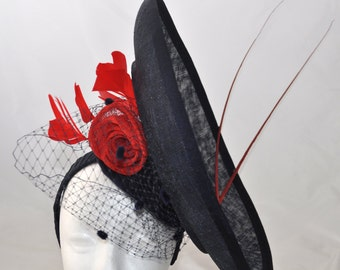 Not for Sale - Large dark navy hatinator with red feathers, netting & quills