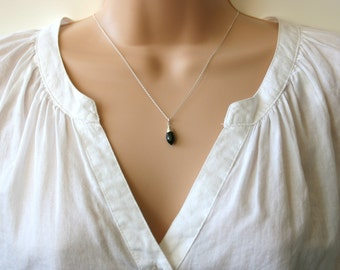 AAA Black Spinel Necklace. sterling silver necklace. wire wrapped pendant. gemstone. Uk shop