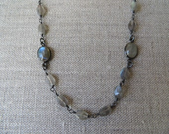 Long Labradorite Oxidized Silver Station Necklace
