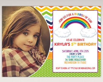 Rainbow Birthday Party printable Photo invitation
