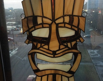 Custom Made Stained Glass Tiki Mask