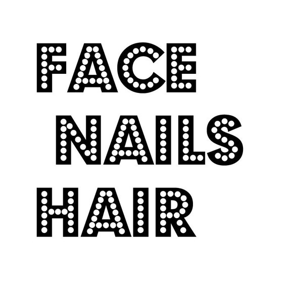 Face nails hair custom vinyl decals any color two inch for Hair color letters