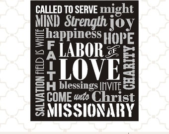 SVG Missionary word collage Labor of LOVE Called to Serve LDS / digital download