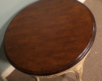 Shabby Cottage Chic Vintage Round Accent Table