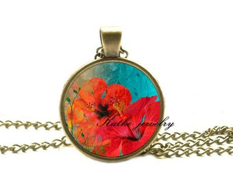 Summer Hibiscus necklace, Hibiscus pendant, flower necklace, flower pendant, summer jewelry