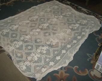 Vintage Grape leaf crochet Couch Shawl