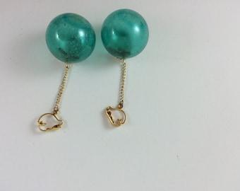 Teal Bobble Drop Clip Earrings
