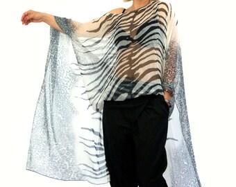 New summer collection/Loose kaftan/Italian chiffon maxi tunic/Dessign luxury chiffon coverup/Gray summer long tunic/Luxury chiffon/T1421