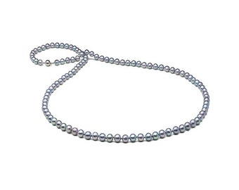 Natural Color Baroque Blue Akoya Opera Pearl Necklace, 8.0-9.0mm, 36-Inches, 14K Gold Clasp
