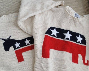 100% cotton All-American sweaters:  Flag or Political Party. Skip Jack Boat Red White Blue Maroon Republican Elephant Democrat Donkey Flag