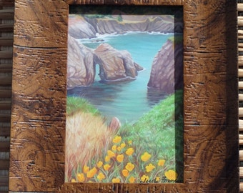 """4 x 7  """" Sea Cave with Poppies"""", print of my original oil painting"""