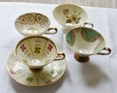 4 Vintage Bone China Coffee Cups with Gold Decoration