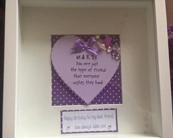 Friend quote with embellishments in box frame