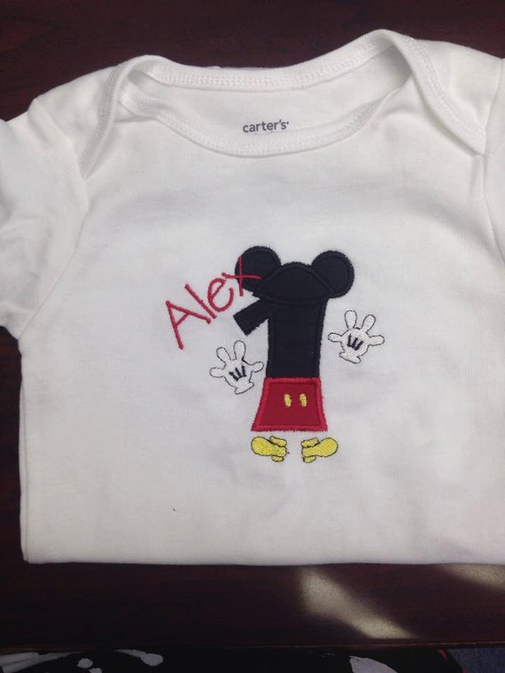 Mickey Mouse Embroidery Birthday Shirt Mickey Hands