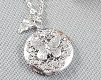 Butterfly locket necklace, silver locket, photo locket, antique locket
