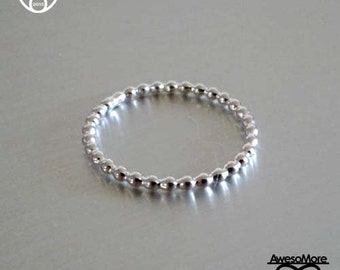 RING - Sterling Silver beaded Ring dots ring Ball ring Stackable ring (Handmade) by Veronica