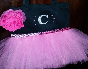 Pink and Black Tutu Tote Bag, Tutu Bag, Black and Pink Tutu Bag, Black Tutu Bag, Pink Tutu Bag, Tutu Dance Bag