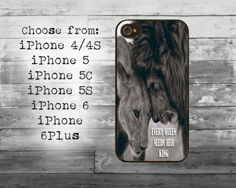 Every queen needs her king phone cover - iPhone 4/4S, iPhone 5/5S/5C, iPhone 6/6+, iPhone 6s/6s Plus case - lion couple iPhone case