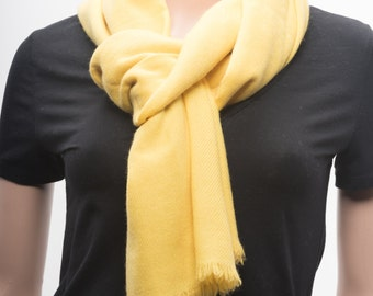 UItra-fine Handwoven Cashmere Scarf, Yellow Color