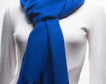 UItra-fine Handwoven Cashmere Scarf, Dark Blue Color