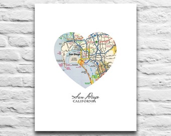San Diego California Vintage Heart Map DIGITAL DOWNLOAD for you 2 Print,San Diego California art print gift poster,diy printable, 8x10 11x14