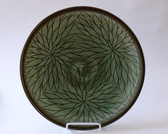 Pottery Dinner Plate, Serving Plate, Decorative Plate with flower carvings, celadon green, wheel-thrown, handmade ceramic