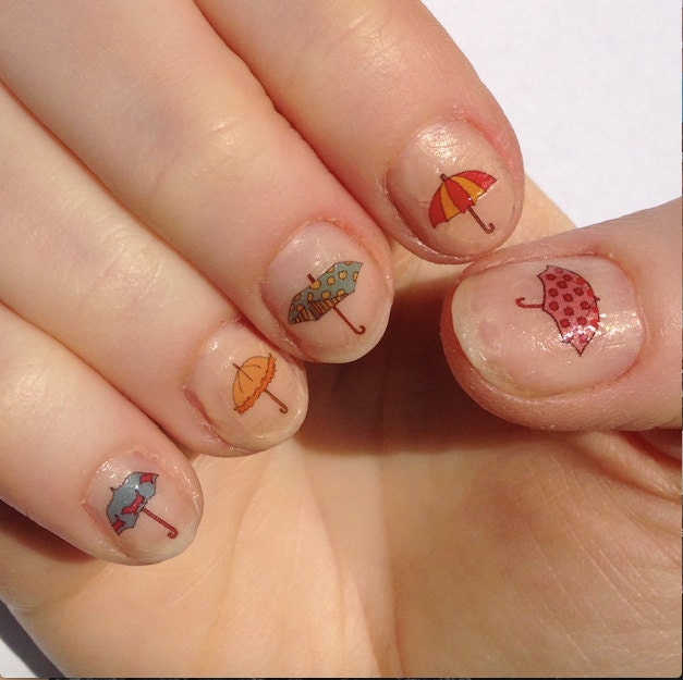Umbrella Nail Stickers / Decals Handmade Illustrated