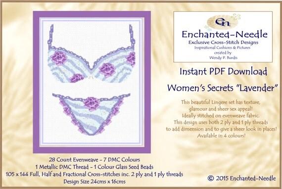 Womens Secrets Lingere Vintage Cross Stitch Colour Pdf Dmc Chart