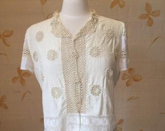 1920s cotton lace blouse