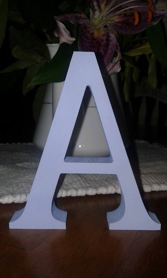 Baby blue wooden letters and numbers free standing painted for Standing wood letters to paint