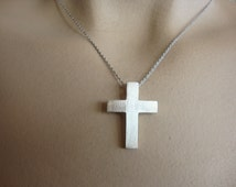 FREE SHIPPING - 925 Sterling silver cross necklace, father's day gift  Elegant unisex silver cross  Men, woman cross Pendant, Classic cross,