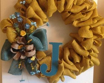 Mustard burlap spring wreath