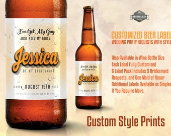 WEDDING BEER LABEL - Retro and Vintage Style Beer Bottle Labels for your Wedding party Requests