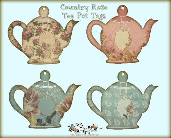 Country Rose Tea Pot Tags