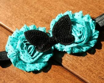 Flower Headband,Infant Headband,Baby Headband,Teal and Black Headband