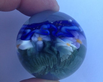 Flower Marble With Clouds and Grass
