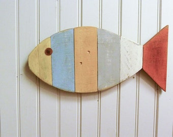 "Painted Fish Wall Hanging - 17"" - home decorating ideas - great for a beach house, lake house, nautical themed room, or ocean decor"