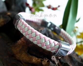 SALE!! Handmade Womens Fashion Twisted Leather Chic Bracelet Wristband Cuff Bangle Jewejry Pink