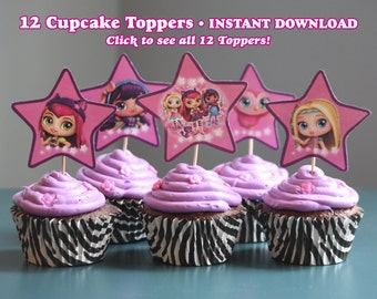 Instant Download Little Charmers Cupcake Toppers, Set of 12, DIY Digital File, Print as many as you want, Little Charmers