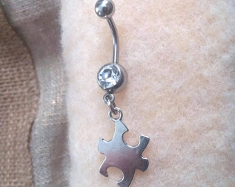 Puzzle Piece Dangling Belly Button Ring!