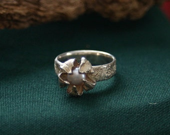 dreamy bud ring, guarding a rose pearl - made in lovely work in silver