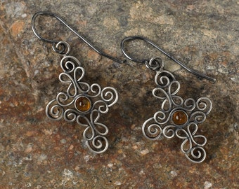 Spiral crosses earrings made in lovely, filigrane, handmade work out of silver - gemstone as requested