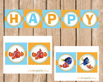 Finding Nemo Happy Birthday Banner, DIY, Instant Download