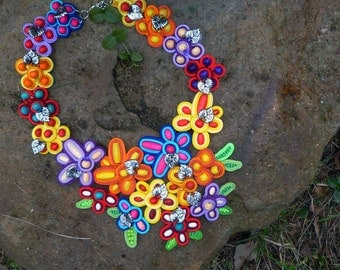 Handmade Soutache necklace - Sunny Meadow