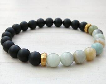 Men's Bracelet, Black Onyx and Amazonite Bracelet, Beaded Stretch Bracelet ,Men's Jewelry, men onyx bracelet, mens bracelet,stretch bracelet