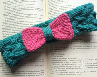 Hand-Knit Teal Headband with Baby Pink Bow